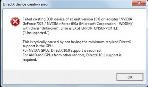 "Error is DXGI_ERROR_UNSUPPORTED (""Unsupported."")"